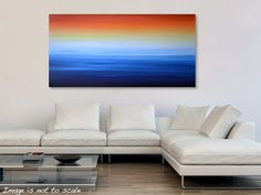 """HUGE 48"""" Abstract Seascape Ocean Beach Painting - Acrylic Canvas Art - Blue, Yellow, Orange, Red - 48 x 24: Winter Sunrise - FREE Shipping on Etsy, $340.90"""