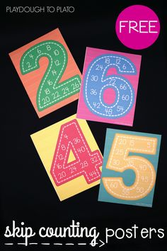 skip couningt builds their number sense, helps them learn how to quickly count on from a given number (4 more than 16 is 20, for example) and begins developing their ability to multiply and divide. These free skip counting posters are great to use during whole class instruction or as a