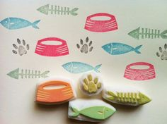 cat paw rubber stamp. hand carved rubber stamp. hand carved stamp. 2 fish. paw.bowl. set of 4.. $14,00, via Etsy.