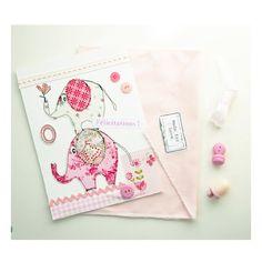 Carte éléphants rose carte textile carte de par EphemereCollection