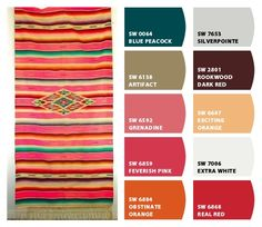 Pink serape inspired color palette that is perfect for western or southwestern decorating. | Stylish Western Home Decorating