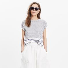 Slouchy and slightly cropped, this striped pocket tee is made of textural slub cotton for that perfectly imperfect look we love.  <ul><li>Slightly cropped, boxy fit.</li><li>Cotton.</li><li>Machine wash.</li><li>Import.</li></ul>