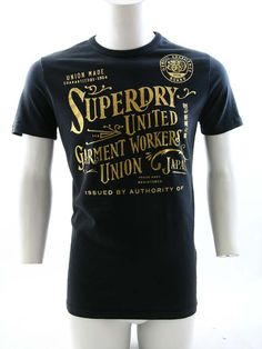 f8d0c3d4 Superdry Garment Workers Foil Print T-Shirt Blackboard £29.99 Man Clothes,  Street Clothes