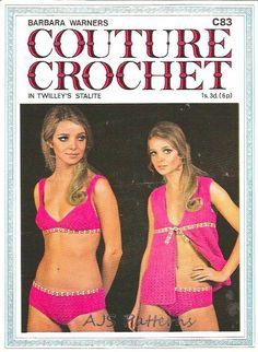 PDF Crochet Pattern For Retro Beach Wear - Crochet Bikini and Cover Up Jacket