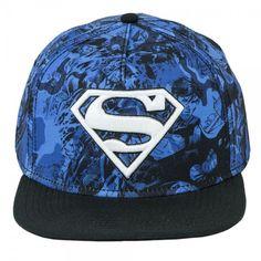 DC Comics Superman Embossed Shield Logo Blue Camo Snapback Baseball Cap Hat NWT