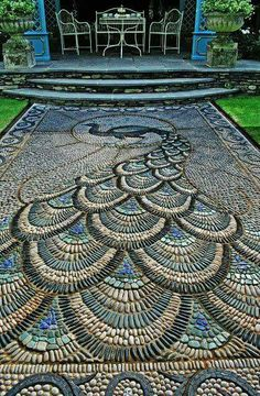 Mosaic peacock,  Chelsea flower show