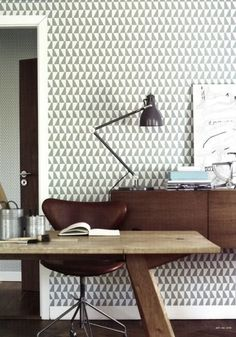 Does Your Home Lack Architectural Details? 8 Ways to Fake It - Geometric wallpaper in neutral colors Keep colors neutral and add some wallpaper in a repetitive, geometric pattern to an accent wall — it won't completely take the place of a nice brick wall, but a repeating pattern will give some of an architectural feel to a space.