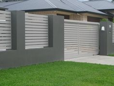 Modern Concrete Wall Fence Design Modern Concrete Fence Design Philippines Modern Concrete Fence Design Picts Of Fences Made Of Brick An Wood Fence Designs By Fences R Us Modern Fence Design, Wood Fence Design, Gate Design, Screen Design, Modern Gates, House Fence Design, Exterior Gris, Design Exterior, Front Gates