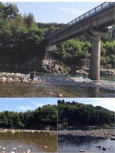 熊本県球磨郡相良村の 境田橋の下を流れている 川辺川で泳いできました  旦那曰く昔に比べて水の量が減り水も濁ってると言っていました  私は初めて飛び込みました…