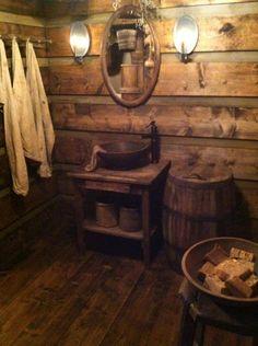 Super prim rustic bathroom https://www.facebook.com/pages/Cabin-Creek-1812/463212147034743