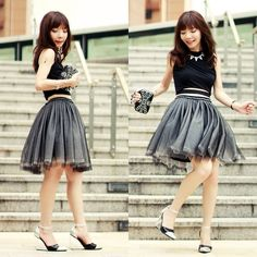 Front Row Shop Cropped Top, Front Row Shop Tulle Skirt, Choies Black Silver Perspex Wedges