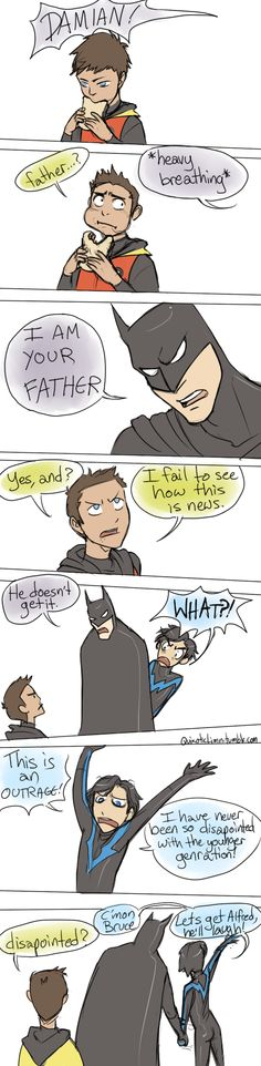 Batman version (Bruce Wayne, Damian Wayne, and Dick Grayson) Nightwing, Batgirl, Catwoman, Damian Wayne, Robins, Tim Drake, Red Hood, Nananana Batman, Hq Dc