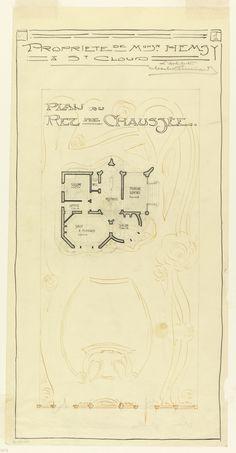 Guimard, 1913 : plan du rez-de-chaussée de la maison de mr Hemsy à Saint Cloud