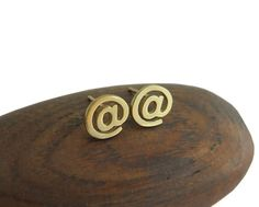 14k Gold At Sign Stud Earrings  Computer by DaliaShamirJewelry