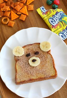 I could do without the Gushers & sketchy snack mix in the background, but I will *totally* be making this for my banana & cinnamon-toast loving son!