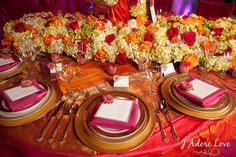 Table Decor Tip: Summer Indian Wedding Shoot by Design House Decor and J'adore Love Wedding After Party, Red Wedding, Wedding Shoot, Wedding Ideas, Wedding Planning, Bridal Shoot, Wedding Flowers, Pink Table Settings, Wedding Table Settings