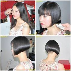 From bland boring longhair to fresh beautiful and sexy Inverted bob haircut with buzzed nape and blunt fringe cut over her eyes to help her see ; Stacked Bob Hairstyles, Work Hairstyles, Undercut Hairstyles, Bob Haircuts, Long Hair Cut Short, Short Hair Styles, Before And After Haircut, Shaved Nape, Red Carpet Hair
