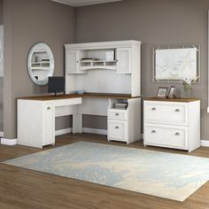 Beachcrest Home Oakridge L-Shaped Executive Desk with Hutch and Lateral File Cabinet