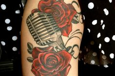 Microphone and Roses Tattoo by Erin Belley of Barron Tattoo Studio | My Next Tattoo
