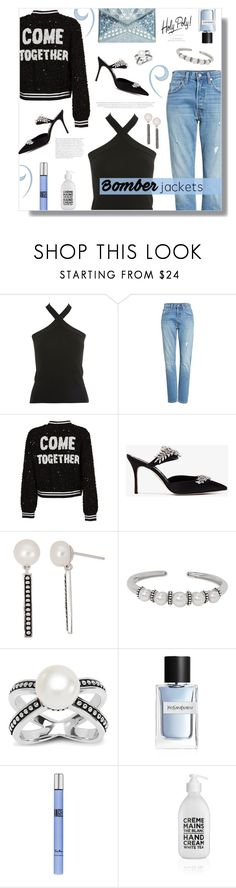 """How to wear a Cross Neck Top!"" by disco-mermaid ❤ liked on Polyvore featuring Topshop, Levi's, Alice + Olivia, Manolo Blahnik, Honora, Yves Saint Laurent, Thierry Mugler and Rebecca Minkoff"