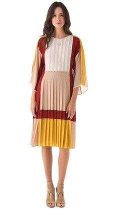 Yay! Yellow, brown and maroon. BCBGMAXAZRIA Gwenna Colorblock Dress