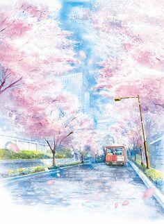 水彩画による表紙イラスト制作 Anime Backgrounds Wallpapers, Anime Scenery Wallpaper, Galaxy Wallpaper, Cute Wallpapers, Fantasy Landscape, Fantasy Art, Anime Places, Japan Art, City Art