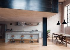 <p>The architects of Sadie Snelson Architects transformed an old warehouse in East London into an impressive living and working concept for photographers. The team removed nearly all original walls in order to create an open living space. They designed and the client casted their own concrete kitchen. New crittall style windows style windows were added, […]</p>