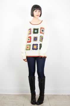 Vintage Crochet Sweater Granny Squares Jumper by ShopTwitchVintage