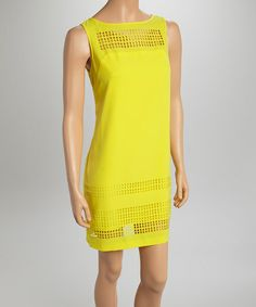 This Yellow Square Cut-Out Shift Dress by Julia Jordan is perfect! #zulilyfinds