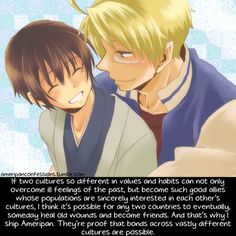 Ameripan Hetalia~IDK who made this but I agree. like this pin but I ship UsUk so hard like tou don't even know. That's why I'm reluctant to ship this. But I am very easily swayed.like, I ship Canada with 3 different countries. Hetalia Japan, Hetalia America, Hetalia Anime, Hetaoni, Hetalia Funny, Character Quotes, Remember The Time, Usuk, Sweet Quotes