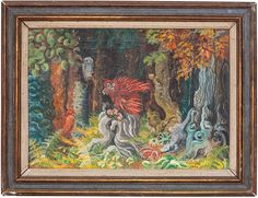 POLISH OIL PAINTING TEOFIL OCIEPKA FANTASY FOREST : Lot 122