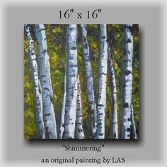 Birch Tree original painting by LAS impasto palette knife wall art 16x16. $99.99, via Etsy.