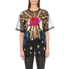 DISCOUNT UNIVERSE Occupy Mars mesh top ($355) ❤ liked on Polyvore featuring tops, black sequin, sequin top, sequin short sleeve top, transparent tops, black sequin top and see through tops