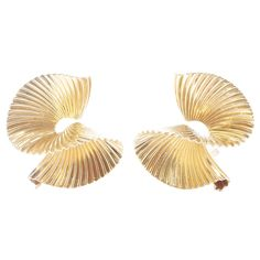Tiffany & Co. Gold Earrings | From a unique collection of vintage clip-on earrings at https://www.1stdibs.com/jewelry/earrings/clip-on-earrings/
