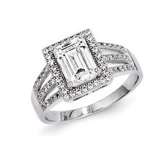.925 Sterling Silver Rectangle CZ Engagement Ring Sterling Silver CZ Jewelry Available Exclusively at Gemologica.com