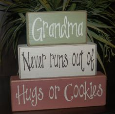 Grandma Never Rus Out Of Hugs Or Cookies Primitive Wood Sign Stacking Blocks Personalized Gift Distressed Word Blocks