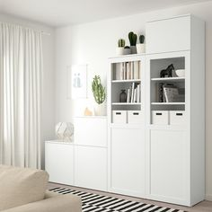 The PLATSA series has storage solutions for even the trickiest spaces. Ikea Study, Powder Coating Wheels, Armoire Ikea, Plastic Shelves, Tempered Glass Door, Panel Doors, Shelving, Room Decor, Furniture