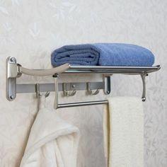 Folding Towel Rack With Bar - Bathroom Shelves - Bathroom Accessories - Bathroom Bathroom Shelves Over Toilet, Bathroom Shelf Decor, Bathroom Ideas, Bathroom Storage, Bath Ideas, Budget Bathroom, Bathroom Styling, Bathroom Designs, Bathroom Organization
