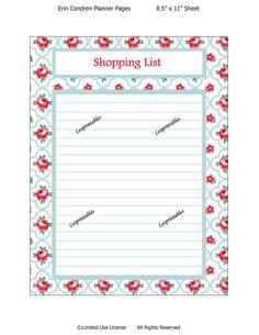 PRINTABLE-Shopping  List-Erin Condren planner by Lesprintables