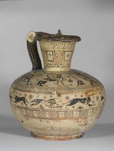 Vessel. 3 - 7th Century BC. Location: Rhodes, Kameiros (Kameiros) (Greece). Archaic Greece, Ancient Greece, Pottery Painting, Pottery Art, Pottery World, Minoan Art, Classical Greece, Mycenae, Greek Pottery