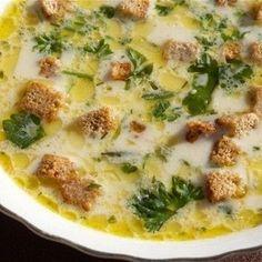 Сырный суп с шампиньонами и сухариками