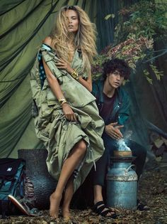 Natasha Poly and Miles McMillan Star in Harper's Bazaar December 2016 Issue