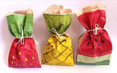 12 x Medium Strawberry Watermelon & Pineapple Paper by adelles Recyclable party favour bags Paper lolly bags tropical fruit theme party Watermelon Birthday Parties, Fruit Birthday, Fruit Party, Tutti Frutti, Lolly Bags, Show Da Luna, Flamingo Party, Tropical Party, Party Favor Bags