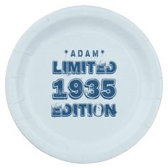 1935 or Any Year Birthday Limited Edition 80th V2Z Paper Plate