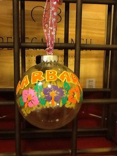 Custom Hand Painted Large Clear Glass Ornament on Etsy, $23.95