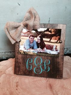 Monogramed wooden frame on Etsy, $28.00