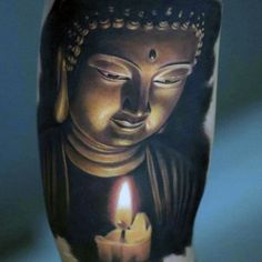Serene Japanese Buddha With Candle Flame Tattoo On Arms For Men Flame Tattoos, Skull Tattoos, Body Art Tattoos, Buda Tattoo, Buddha Tattoo Design, Tattoo Sleeve Designs, Sleeve Tattoos, Tattoo Oriental, Candle Tattoo