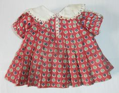 """Size Tagged Vintage 1930s 16"""" Ideal Composition Shirley Temple Doll Loop Dress"""