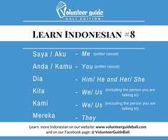 FREE bahasa Indonesia lesson: personal pronouns. Find over 40 + Indonesian language videos that will help you learn Indonesian easily and effectively so that your volunteer or internship placement is as much productive as it is enjoyable! Find more information on volunteer positions, internship positions and language information on our website: www.volunteerguidebali.com and our FB account: @volunteerguidebali