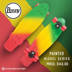 Penny's Canary 27 is a bright and bold Penny board that fades from yellow to red then blue, with a blue deck underneath the paint. You'll feel stable with a little more plastic underfoot riding the 27 board size, which is great for learning or practising new tricks.  Get yours now at Originboardshop.com  #penny #pennyaustralia #pennyskateboards #pennycruiser #skater #skateboarding #skatetricks #skatelife #skateshop #instaskater #thrasher #skateboard #skateboards #skateanddestroy… Penny Skateboard, Skate And Destroy, Supra Shoes, Complete Skateboards, Skate Decks, Thrasher, Rip Curl, New Tricks, Skate Shoes